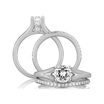 A. Jaffe 18k White Gold Split Shank Modern with Diamond Loop Set Profile Engagement Ring