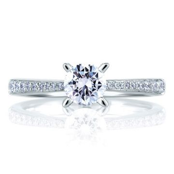 A. Jaffe 18k White Gold Cathedral Pave with Diamond Studded Engagement Ring