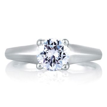 A. Jaffe 18k White Gold Solitaire Diamond Cross Over Engagement Ring