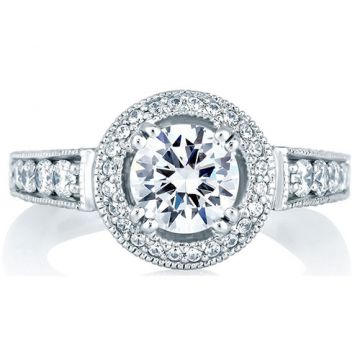 A. Jaffe 18k White Gold Classic Milgrain Halo Set Diamond Engagement Ring