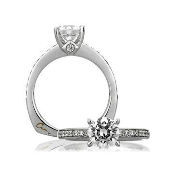A. Jaffe 18k White Gold Signature Classic with Bezel Set Profile Diamond Engagement Ring