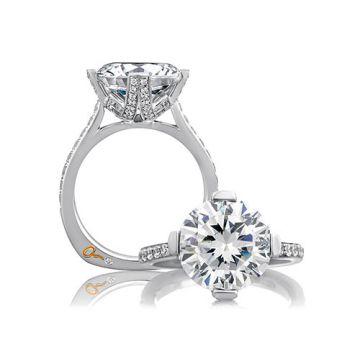 A. Jaffe 18k White Gold Split Prong Statement Round Diamond Engagement Ring