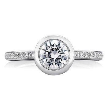 A. Jaffe 18k White Gold Round Architectural Bezel Diamond Engagement Ring