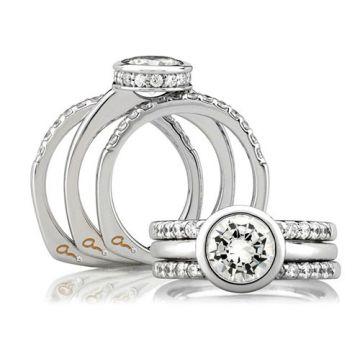 A. Jaffe 18k White Gold Classic Signature Fifteen Diamond Shared Prong Wedding Band