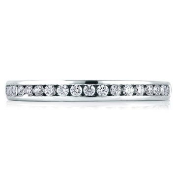 A. Jaffe 18k White Gold Sparkling Channel Set Signature Diamond Anniversary Band
