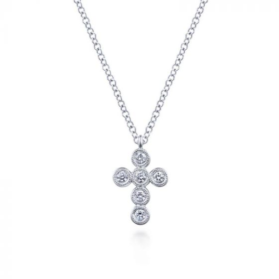 Gabriel & Co. 14k White Gold Faith Diamond Religious Cross ...