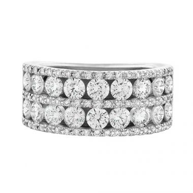 Christopher Designs Crisscut Round Four Row Diamond Anniversary Band