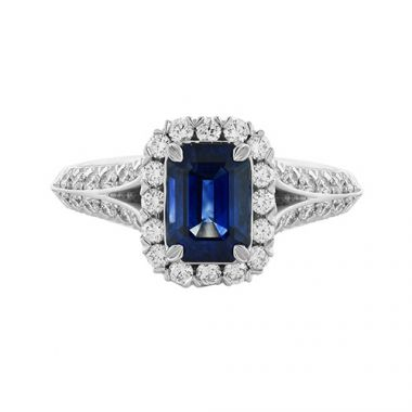 Christopher Designs Diamond Halo Emerald Cut Blue Sapphire Fashion Ring