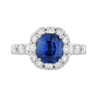 Christopher Designs Diamond Halo Cushion Cut Blue Sapphire Fashion Ring