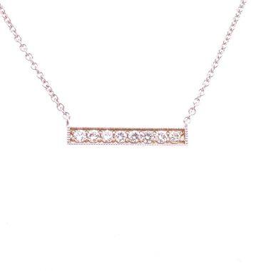 14K WHITE GOLD 8 DIAMOND BAR NECKLACE