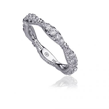 Christopher Designs 14k White Gold Crisscut Collection Scalloped Graduated Diamond Wedding Band
