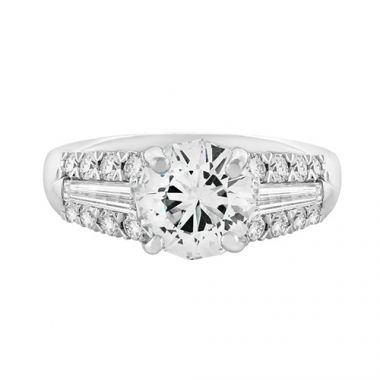 Christopher Designs Crisscut Round Three Row Tapered Baguettes Round Crisscut Diamond Engagement Ring