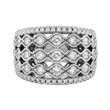 Christopher Designs Crisscut Round Five Row Diamond Anniversary Band