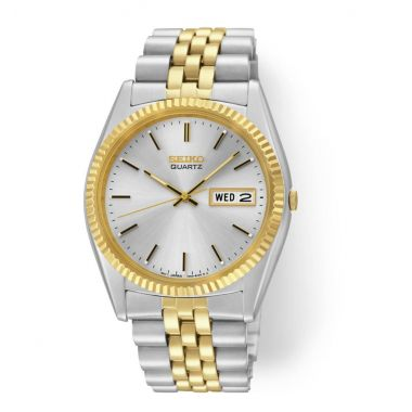 SEIKO QUARTZ STAINLESS STEEL AND YELLOW GOLD PLATED WATCH