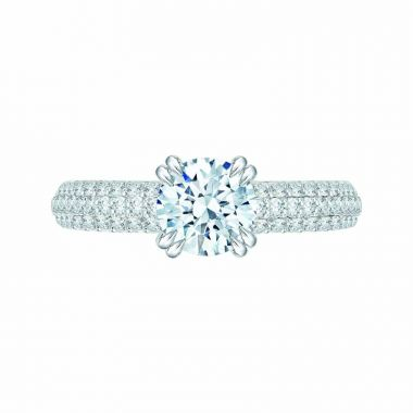 Carizza 14k White Gold Cathedral Diamond Engagement Ring