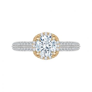 Carizza Two Tone 14k Gold Diamond Engagement Ring