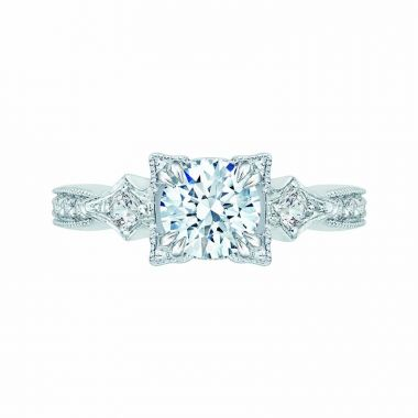 Carizza 14k White Gold Vintage Diamond Engagement Ring