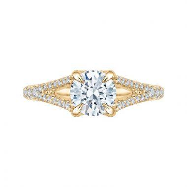 Carizza 14k Yellow Gold Split Shank Diamond Engagement Ring