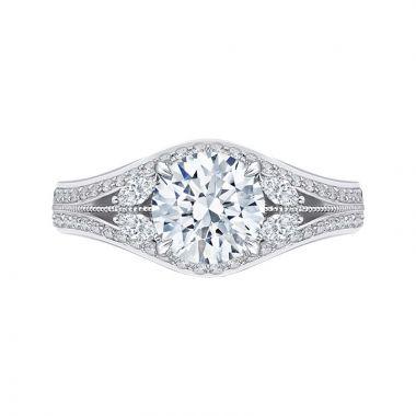 Carizza 14k White Gold Split Shank Diamond Engagement Ring