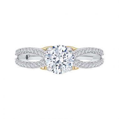 Carizza Two Tone 14k Gold Split Shank Diamond Engagement Ring