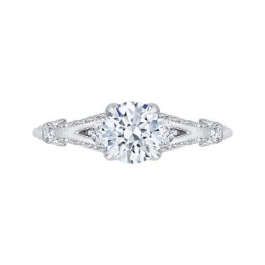 Carizza 14k White Gold Split Shank Diamond Engagement Ring