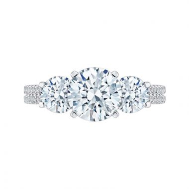 Carizza 14k White Gold 3 Stone Diamond Engagement Ring