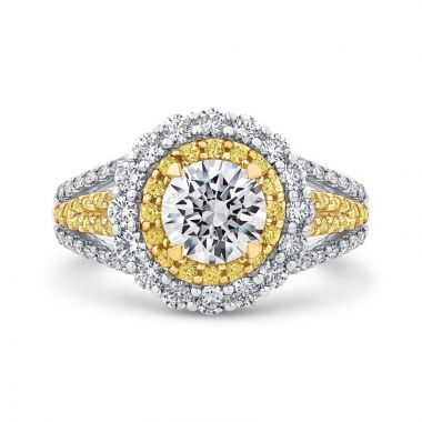 Carizza Two Tone 14k Gold Double Halo Diamond Engagement Ring