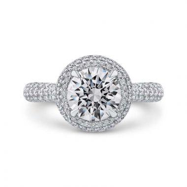 Carizza 14k White Gold Double Halo Diamond Engagement Ring