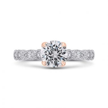 Carizza Two Tone 14k Gold Diamon Engagement Ring
