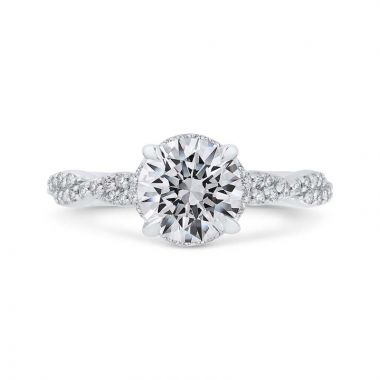 Carizza 14k White Gold Twisted Diamond Engagement Ring