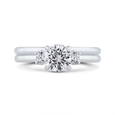Carizza Two Tone 14k Gold 3 Stone Dimaond Engagement Ring