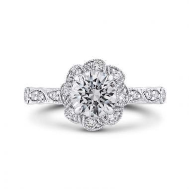 Carizza Two Tone 14k Gold Floral Diamond Engagement Ring