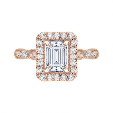 Carizza 14k Rose Gold Halo Diamond Engagement Ring