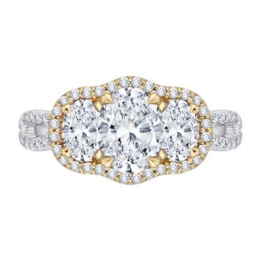 Carizza Two Tone 14k Gold 3 Stone Diamond Engagement Ring