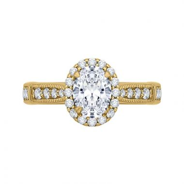 Carizza 14k Yellow Gold Halo Diamond Engagement Ring