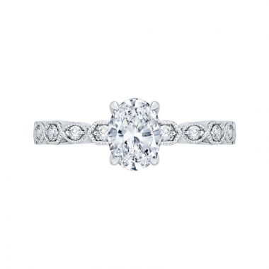 Carizza 14k White Gold Floral Diamond Engagement Ring