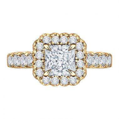 Carizza 14k Yellow Gold Halo Diamond Engagement Ring