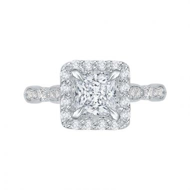 Carizza 14k White Gold Halo Diamond Engagement Ring