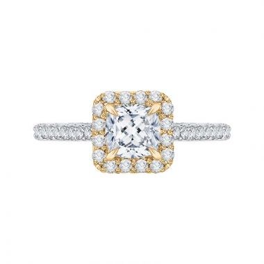 Carizza Two Tone 14k Gold Halo Diamond Engagement Ring