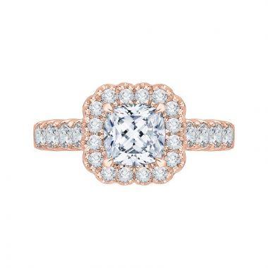 Carizza 14k Rose Gold Halo Diamond Engagement Ring