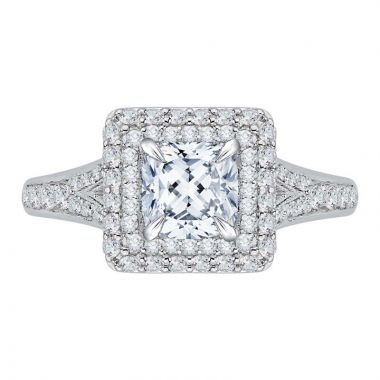 Carizza 14k White Gold Double Halo Diamond Engagement Ring