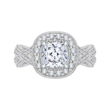 Carizza 14k White Gold Halo Diamond Engagement Ring