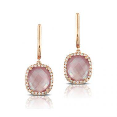 Doves 18k Rose Gold French Back Drop Earrings
