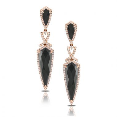 Doves 18k Rose Gold Haute Hematite Quartz Earrings