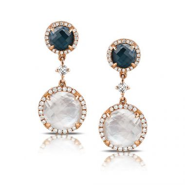Doves 14K Rose Gold Gemston and Diamond Earrings