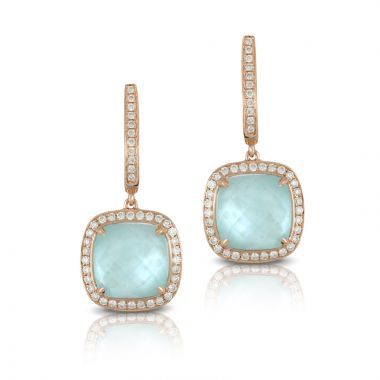 Doves 18k Rose Gold Ocean Mist Mother of Pearl and Topaz Earrings