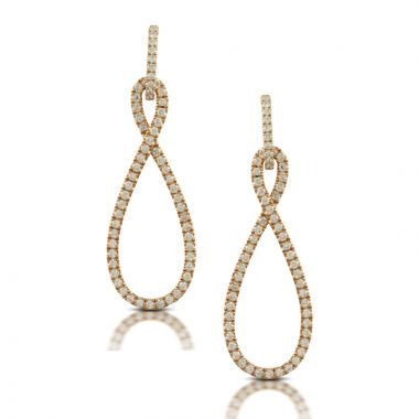 Doves 18k Rose Gold Diamond Fashion Earrings