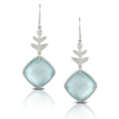 Doves 18k White Gold Ocean Mist Mother of Pearl and Topaz Earrings