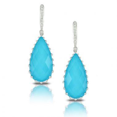 Doves 18k White Gold St. Barths Blue Quartz Earrings