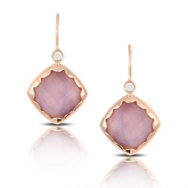 Doves 18k Rose Gold Viola Mother of Pearl Earrings